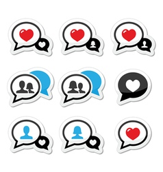 Love speech bubbles with heart icons set vector image vector image