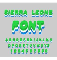 Sierra Leone font Sierra Leones flag on letters vector image vector image