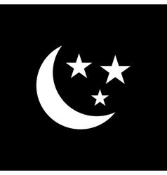 The moon and stars icon Night sleep symbol Flat vector image