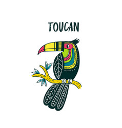 toucan in colorful tribal ethnic style vector image