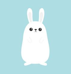 white bunny rabbit funny head face big ears vector image vector image
