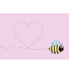 Bee in love vector image vector image