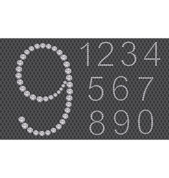 Diamond number set from 1 to 9 vector image