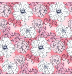 elegant seamless pattern with pink flowers vector image vector image