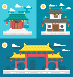 Flat design old chinese buildings vector image vector image