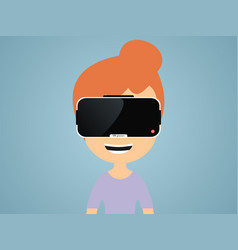 girl in virtual reality glasses vector image