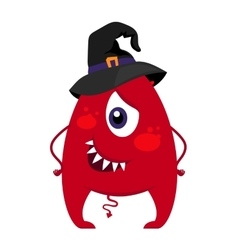 Halloween monster in witch hat vector image