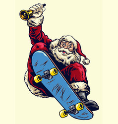 hand drawing santa claus riding skateboard and vector image vector image