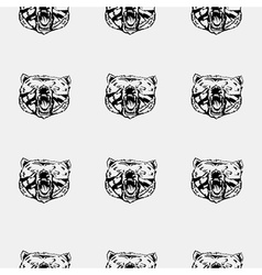 Pattern bear head icon Repeated seamless hand vector image