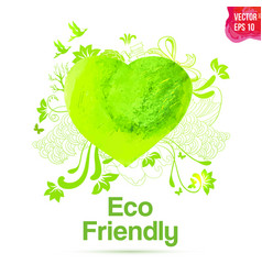 watercolor eco friendly heart shape drawing vector image