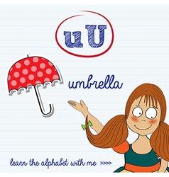 alphabet worksheet of the letter u vector image