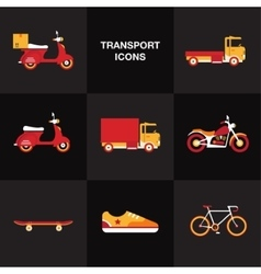 Flat transport vehicle icon set vector image vector image