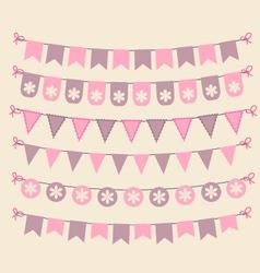 Retro bunting set patel pink scrapbook design vector image