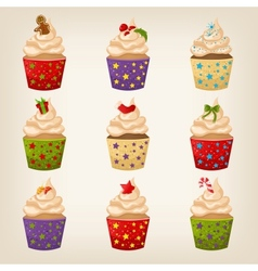 Set of Christmas cupcakes vector image vector image