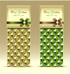 Banners or gift card with bow geometric pattern gr vector image vector image