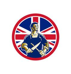 British butcher union jack flag icon vector
