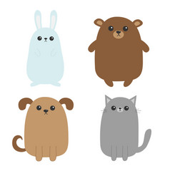 cartoon dog cat bear grizzly rabbit hare icon vector image vector image