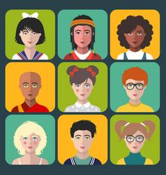 children avatars set of different vector image