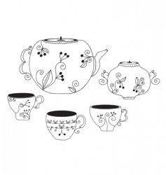 cup and pot vector image vector image
