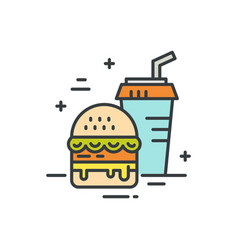 fastfood line icon vector image vector image