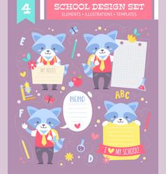 school design set with cartoon character vector image vector image