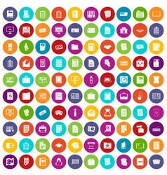 100 document icons set color vector