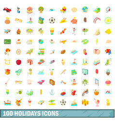 100 holidays icons set cartoon style vector