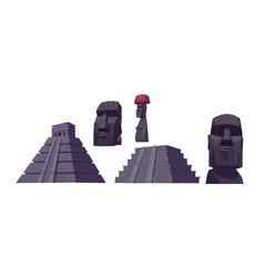 Ancient mayan pyramids and moai statues vector