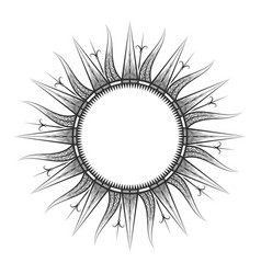 Antique sun tarot astrological symbol sketch vector