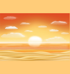 beautiful sunset sea sand beach scene vector image