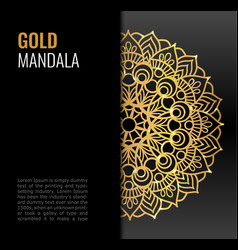 Black poster with gold beautiful mandala golden vector