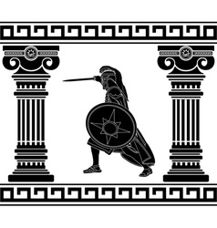 Black warrior with with columns third variant vector