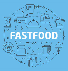 Blue line flat circle fastfood vector