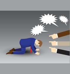 Businessman kneeling with others pointing and vector
