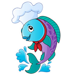 Cartoon fish chef vector