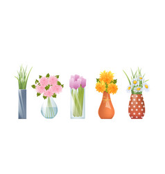 cartoon vases and flowers vector image