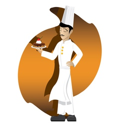 Chef is showing his cake vector image
