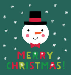 christmas card with a snowman face vector image