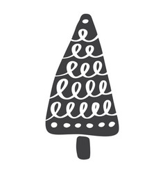 christmas tree icon silhouette simple vector image