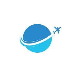 circle plane flying aviation logo vector image
