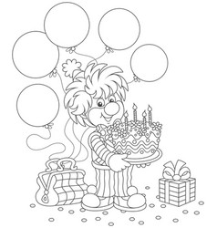 Circus clown with birthday cake vector