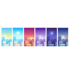 city landscape daytime cityscape sunrise day vector image