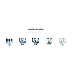 Coverage area icon in different style two vector