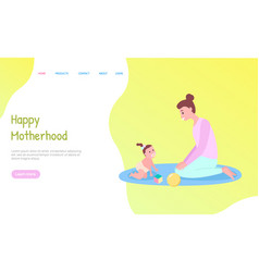 Crawling baby on mat with toys motherhood vector