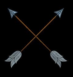 crossed indian arrows vector image