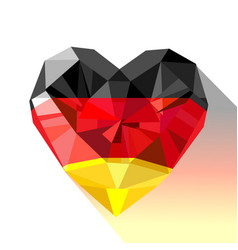 Crystal gem jewelry heart with german flag vector