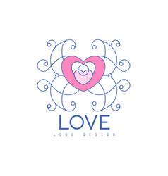 Cute line logo design with ornamental heart vector