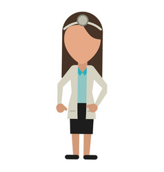 Doctor female with head mirror and coat vector