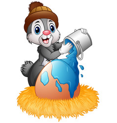 Easter bunny sprinkle of paint on eggs in the nest vector