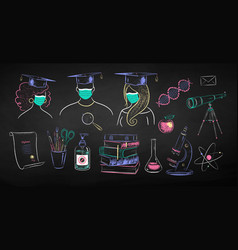 Education chalk drawings collection vector